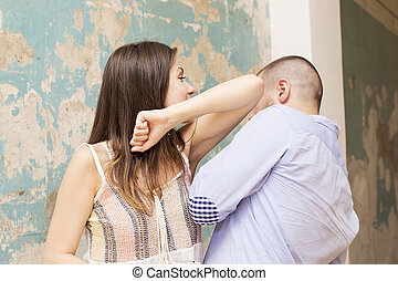Domestic violence - Man beating up his wife illustrating...
