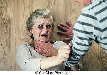 Domestic violence - Woman victim of domestic violence and...