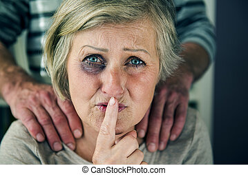 Domestic violence - Portrait of woman victim of domestic...