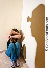 Domestic violence - Woman in the floor suffering the ...