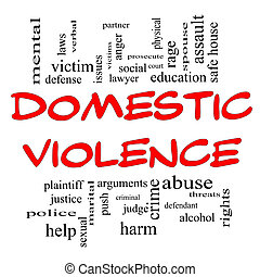 Domestic Violence Word Cloud Concept in Red Caps with great...