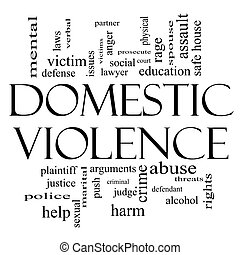 Domestic Violence Word Cloud Concept in Black and White with...
