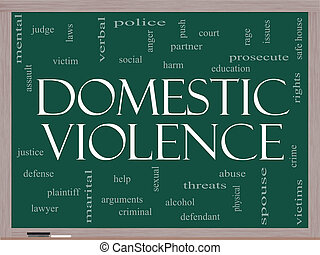 Domestic Violence Word Cloud Concept on a Blackboard with...