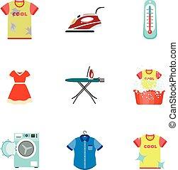 Domestic wash icon set, flat style