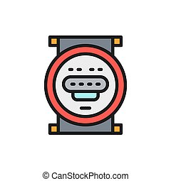 Vector domestic water meter flat color line icon. Symbol and sign illustration design. Isolated on white background