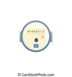 Domestic water meter, household measuring device vector illustration