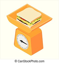 Domestic weigh scales and sandwich. Domestic weigh scales...