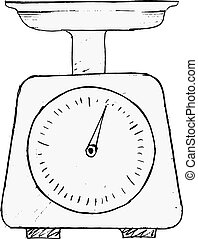 domestic weigh-scales - hand drawn, vector, sketch...
