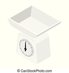 Domestic weigh scales icon. Domestic weigh scales isometric...