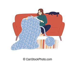 Domestic woman knit hold knitting needles and clew of thick yarn vector flat illustration. Creative female enjoying handmade hobby sit on comfy sofa isolated on white. Joyful lady use merino wool.