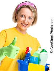domestica, donna, giovane, pulizia