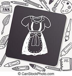 domestica, vestiti, scarabocchiare