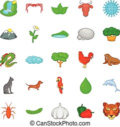 Domesticated animal icons set, cartoon style