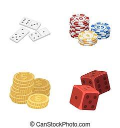 dominó, játékkockák, kazal, közül, játékpénz, egy, cölöp, közül, mont, játék, blocks., kaszinó, és, hazárdjáték, állhatatos, gyűjtés, ikonok, alatt, karikatúra, mód, raster, jelkép, állandó ábra, web.
