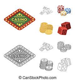 dominó, játékkockák, kazal, közül, játékpénz, egy, cölöp, közül, mont, játék, blocks., kaszinó, és, hazárdjáték, állhatatos, gyűjtés, ikonok, alatt, karikatúra, mód, bitmap, jelkép, állandó ábra, web.