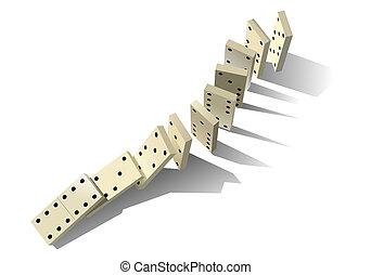 dominó, principle., vektor, ábra