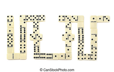 dominós, blanco, aislado, plano de fondo