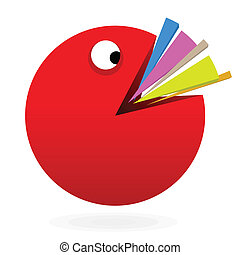 Larger percentage pie chart devouring other smaller pies.