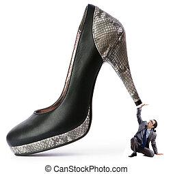 domination, concept, chaussures, femme homme