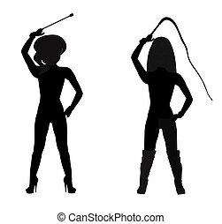 dominatrix, dans, silhouette