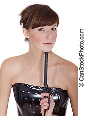 dominatrix woman with whip isolated over white background