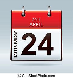 domingo, pascua, calendario, icono