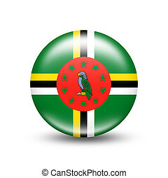 Dominica country flag in sphere with white shadow
