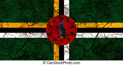 dominica country flag painted on a cracked grungy wall