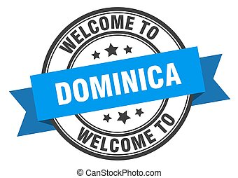Dominica stamp. welcome to Dominica blue sign