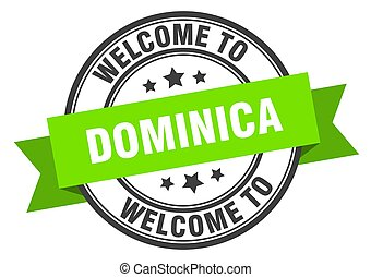Dominica stamp. welcome to Dominica green sign