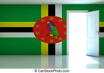 Dominica flag on empty room