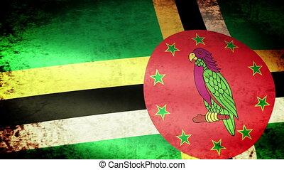 Dominica Flag Waving, grunge