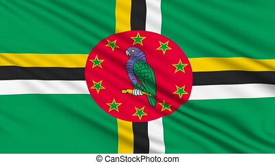Dominica Flag,, with real structure of a fabric
