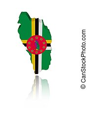 Dominica map flag with reflection illustration