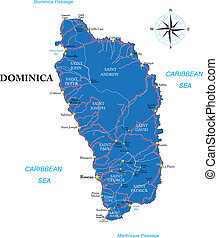 Highly detailed vector map of Dominica with administrative regions, main cities and roads.