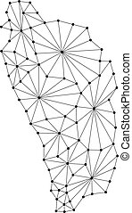 Dominica map of polygonal mosaic lines network, rays and dots vector illustration.