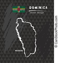Dominica map, vector pen drawing on black background