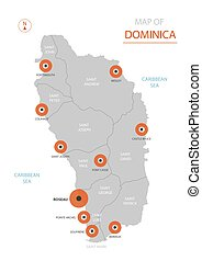 Dominica map with administrative divisions.