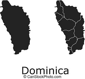 Dominica map with regional division