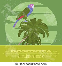 Dominica national symbols. Sisseru parrot, Imperial amazon. ...