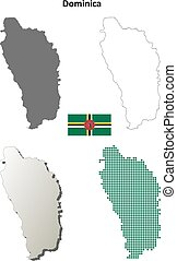 Dominica outline map set