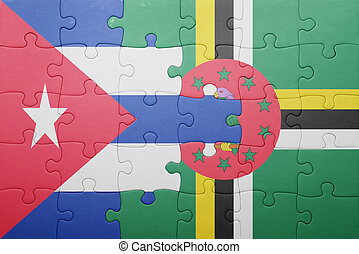 dominica, quebra-cabeça, bandeira, nacional, cuba