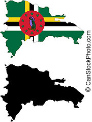 vector map and flag of Dominica with white background.