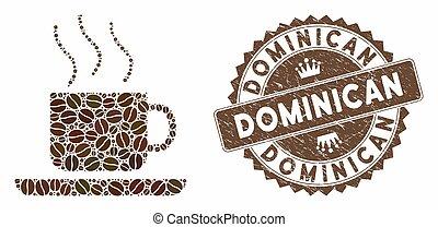 dominicain, timbre, détresse, café, café-casser, mosaïque
