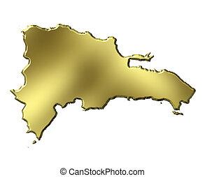 Dominican Republic 3d Golden Map