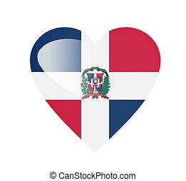 Dominican Republic 3D heart shaped flag