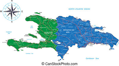 Highly detailed vector map of Dominican Republic and Haiti with administrative regions, main cities and roads.