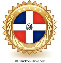 Dominican Republic Badge - Gold badge with the flag of the...