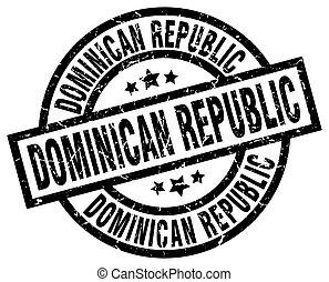 Dominican Republic black round grunge stamp