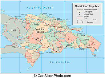 Dominican Republic - Vector map. Marked geographical and...